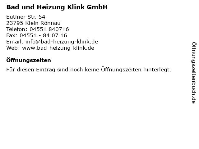 Joachim Klink Bäder und Heizungen in Klein Rönnau: Adresse und Öffnungszeiten