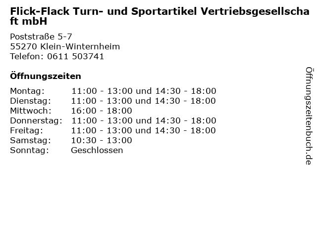 Flick-Flack Turn- und Sportartikel Vertriebsgesellschaft mbH in Klein-Winternheim: Adresse und Öffnungszeiten