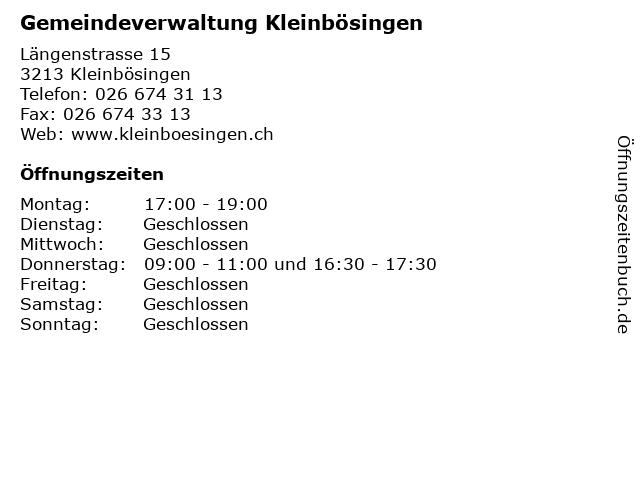 Gemeindeverwaltung Kleinbösingen in Kleinbösingen: Adresse und Öffnungszeiten