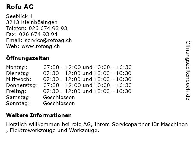 Rofo AG in Kleinbösingen: Adresse und Öffnungszeiten