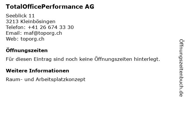 TotalOfficePerformance AG in Kleinbösingen: Adresse und Öffnungszeiten