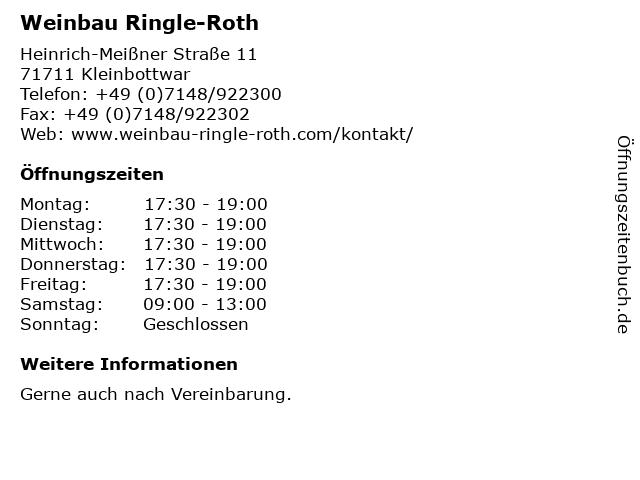 Weinbau Ringle-Roth in Kleinbottwar: Adresse und Öffnungszeiten