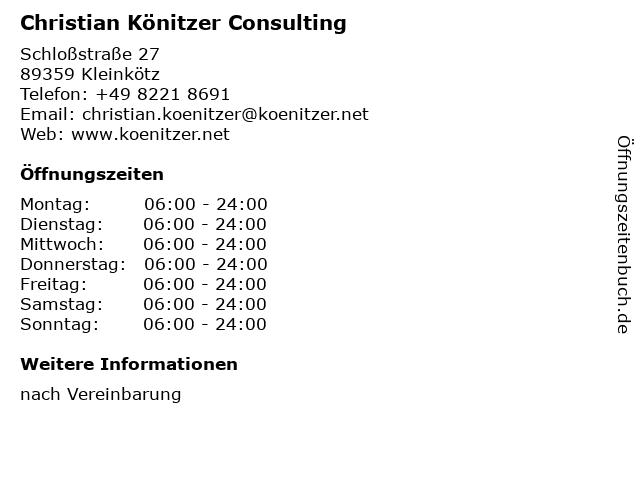 Christian Könitzer Consulting in Kleinkötz: Adresse und Öffnungszeiten