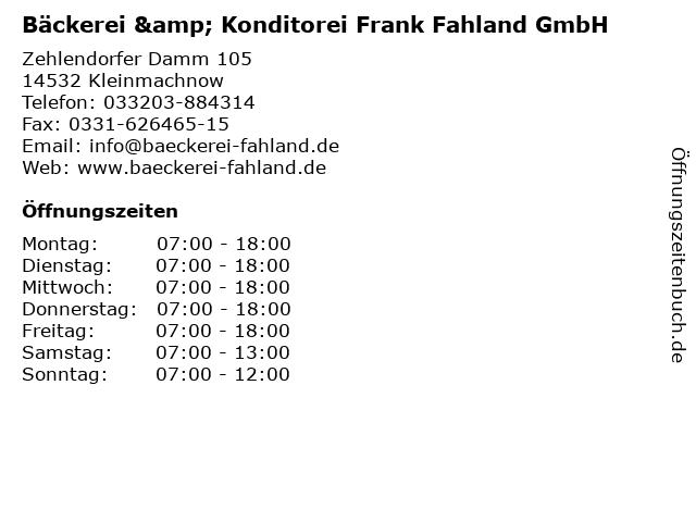 Bäckerei & Konditorei Frank Fahland GmbH in Kleinmachnow: Adresse und Öffnungszeiten