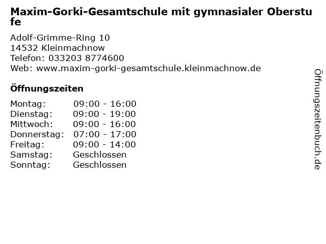 Maxim-Gorki-Gesamtschule mit gymnasialer Oberstufe in Kleinmachnow: Adresse und Öffnungszeiten