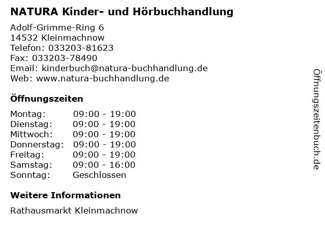 NATURA Kinder- und Hörbuchhandlung in Kleinmachnow: Adresse und Öffnungszeiten