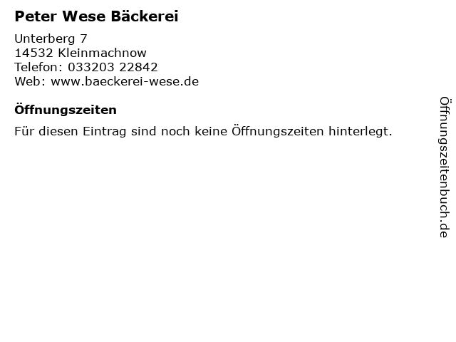 Peter Wese Bäckerei in Kleinmachnow: Adresse und Öffnungszeiten