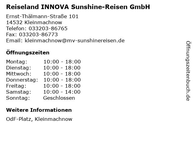 Reiseland INNOVA Sunshine-Reisen GmbH in Kleinmachnow: Adresse und Öffnungszeiten