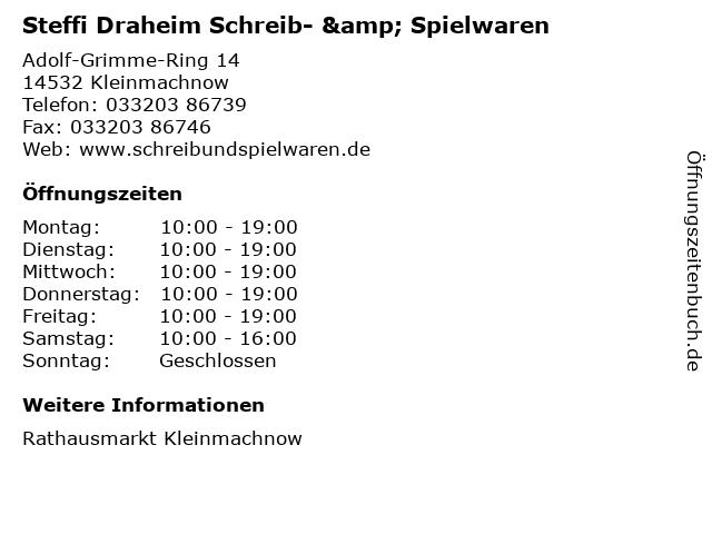 Steffi Draheim Schreib- & Spielwaren in Kleinmachnow: Adresse und Öffnungszeiten