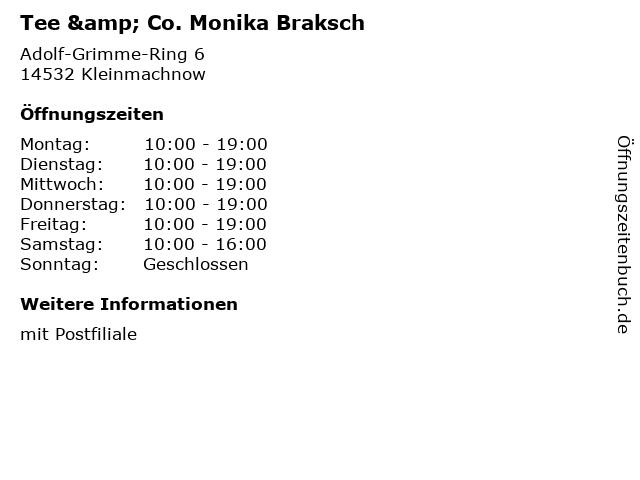 Tee & Co. Monika Braksch - Deutsche Post Filiale in Kleinmachnow: Adresse und Öffnungszeiten