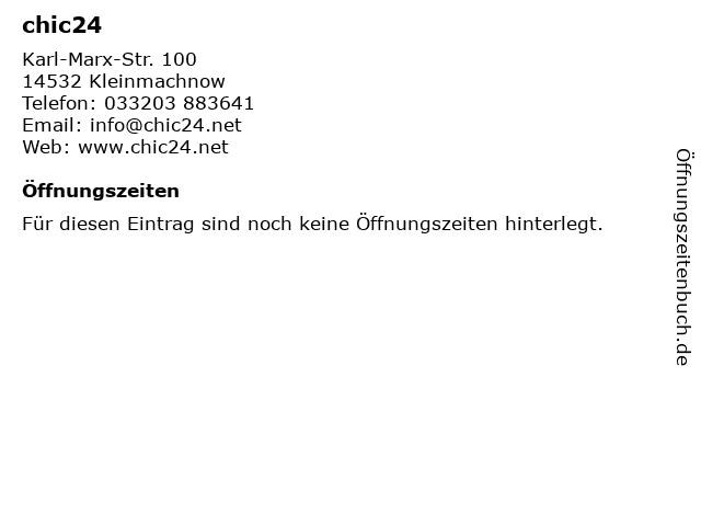 chic24 in Kleinmachnow: Adresse und Öffnungszeiten