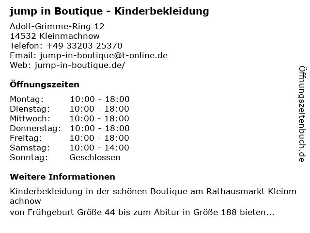 jump in Boutique in Kleinmachnow: Adresse und Öffnungszeiten