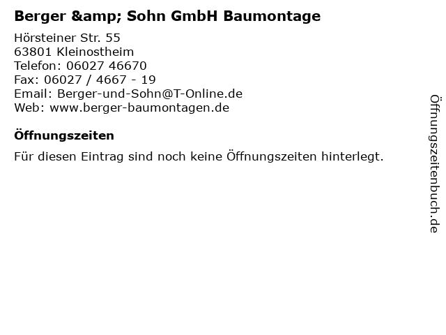 ᐅ Offnungszeiten Berger Sohn Gmbh Baumontage Horsteiner Str