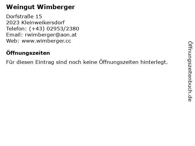 Weingut Wimberger in Kleinweikersdorf: Adresse und Öffnungszeiten