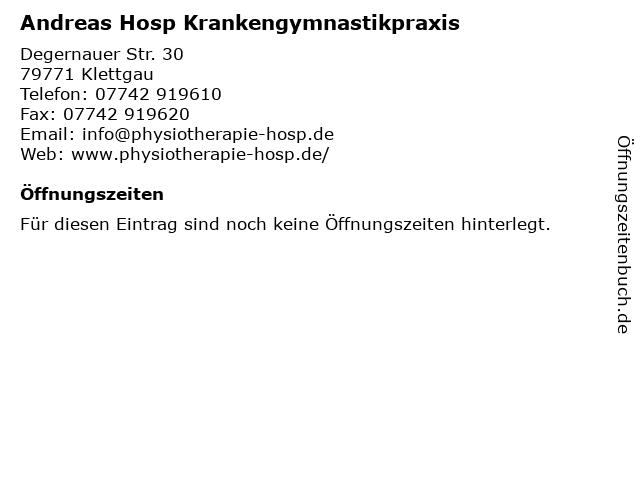Andreas Hosp Krankengymnastikpraxis in Klettgau: Adresse und Öffnungszeiten