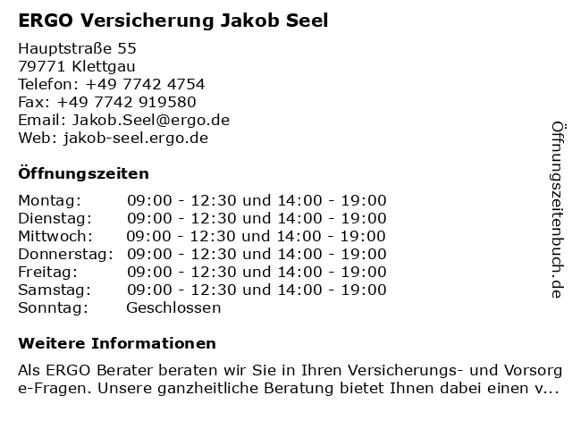 ERGO Versicherung Jakob Seel in Klettgau: Adresse und Öffnungszeiten