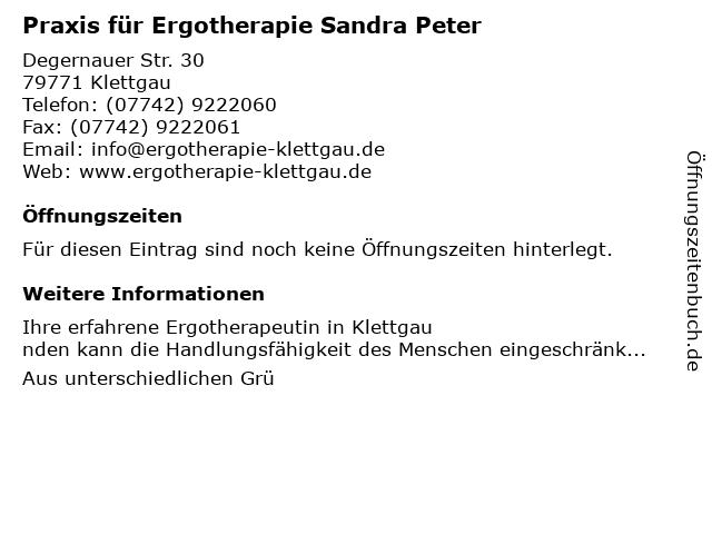 Praxis für Ergotherapie Sandra Peter in Klettgau: Adresse und Öffnungszeiten
