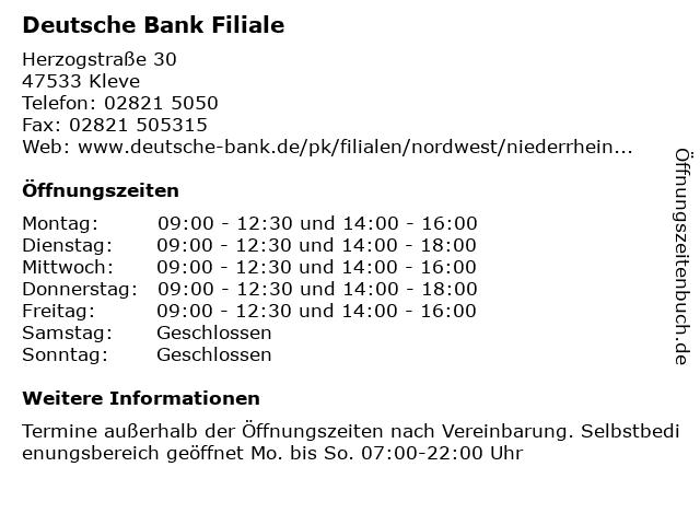 Deutsche Bank Kleve Offnungszeiten