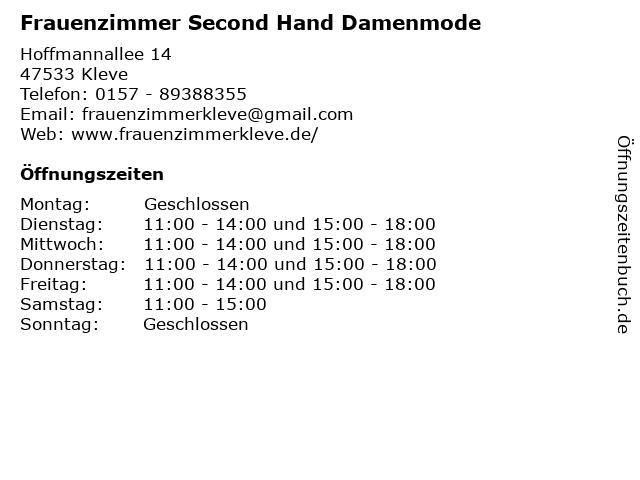 Frauenzimmer Second Hand Damenmode in Kleve: Adresse und Öffnungszeiten
