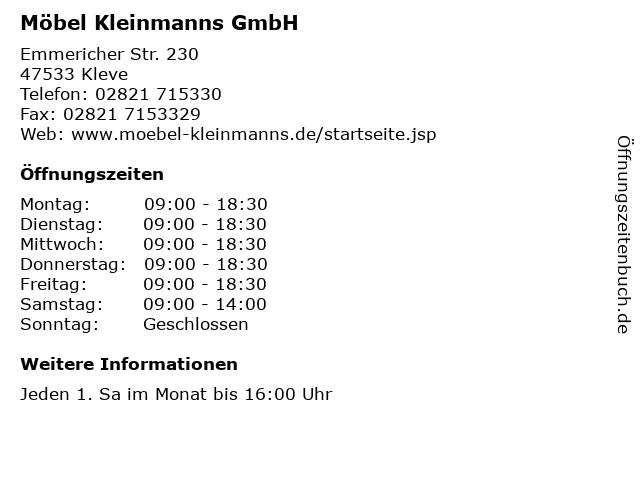 ᐅ öffnungszeiten Möbel Kleinmanns Gmbh Emmericher Str 230 In Kleve
