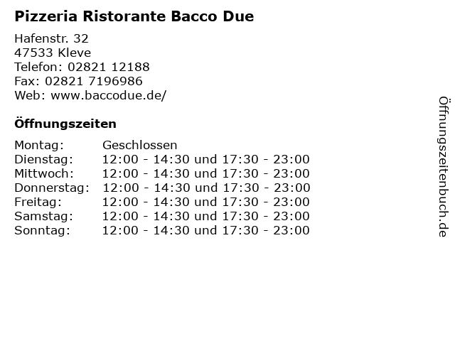 Pizzeria Ristorante Bacco Due in Kleve: Adresse und Öffnungszeiten