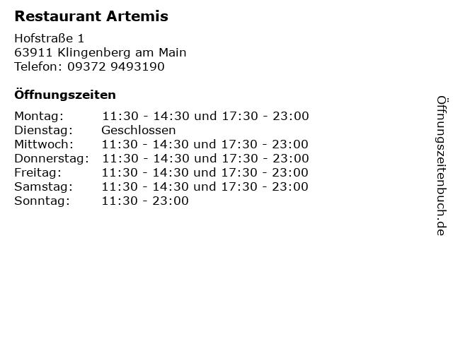 Restaurant Artemis in Klingenberg am Main: Adresse und Öffnungszeiten