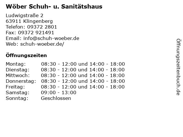 Wöber Schuh- u. Sanitätshaus in Klingenberg: Adresse und Öffnungszeiten