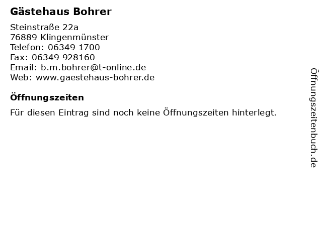 Gästehaus Bohrer in Klingenmünster: Adresse und Öffnungszeiten
