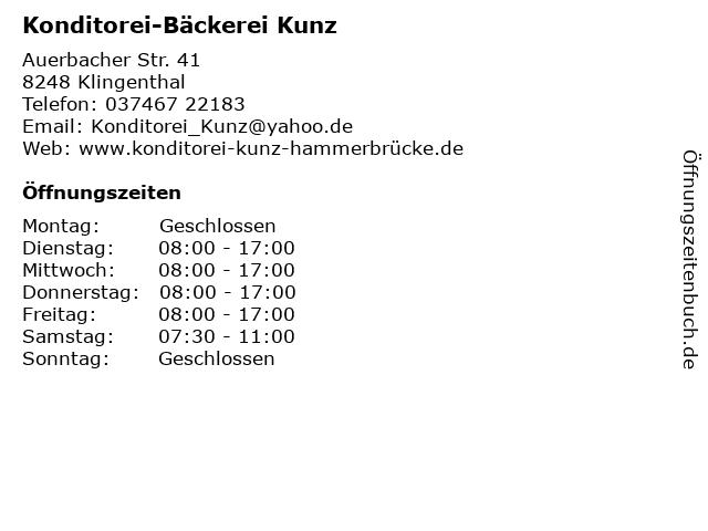 Konditorei-Bäckerei Kunz in Klingenthal: Adresse und Öffnungszeiten