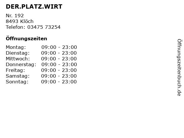 DER.PLATZ.WIRT in Klöch: Adresse und Öffnungszeiten