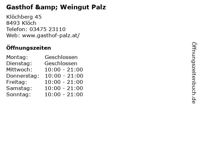 Gasthof & Weingut Palz in Klöch: Adresse und Öffnungszeiten