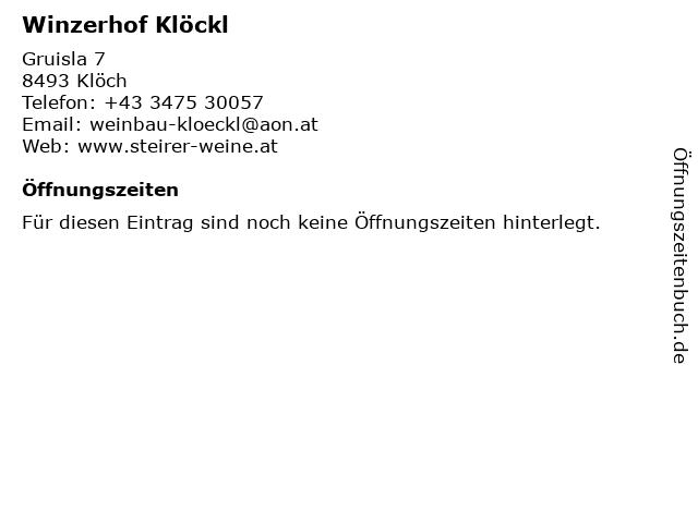 Winzerhof Klöckl in Klöch: Adresse und Öffnungszeiten