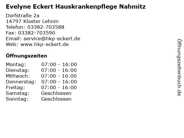 Evelyne Eckert Hauskrankenpflege Nahmitz in Kloster Lehnin: Adresse und Öffnungszeiten