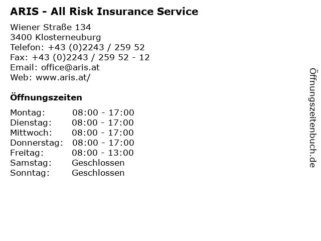 ARIS - All Risk Insurance Service in Klosterneuburg: Adresse und Öffnungszeiten