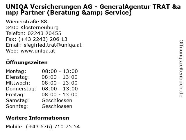 UNIQA Versicherungen AG - GeneralAgentur TRAT & Partner (Beratung & Service) in Klosterneuburg: Adresse und Öffnungszeiten