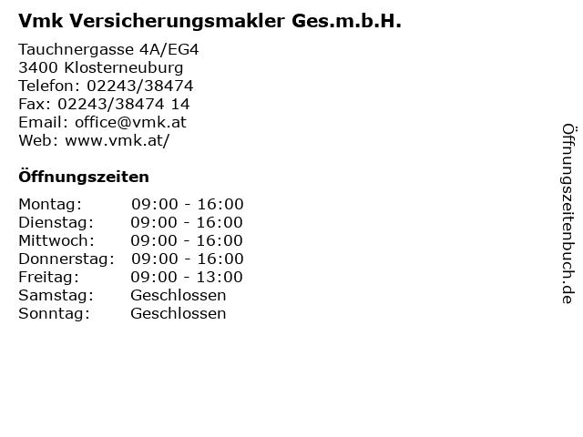 Vmk Versicherungsmakler Ges.m.b.H. in Klosterneuburg: Adresse und Öffnungszeiten