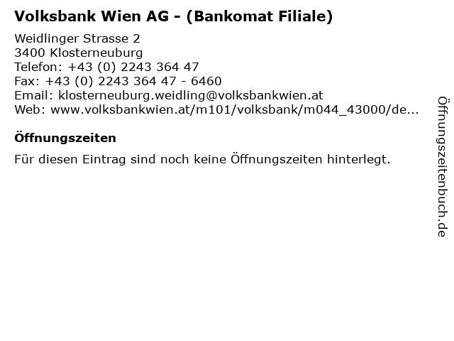 ᐅ öffnungszeiten Volksbank Wien Ag Bankomat Filiale