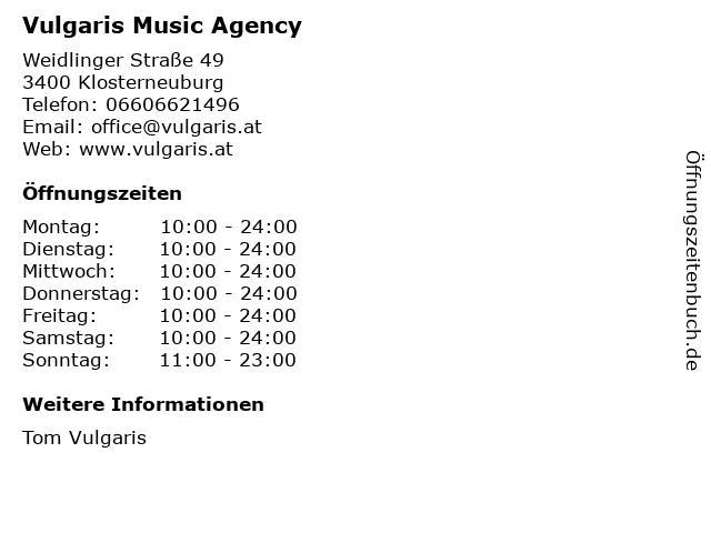 Vulgaris Music Agency in Klosterneuburg: Adresse und Öffnungszeiten