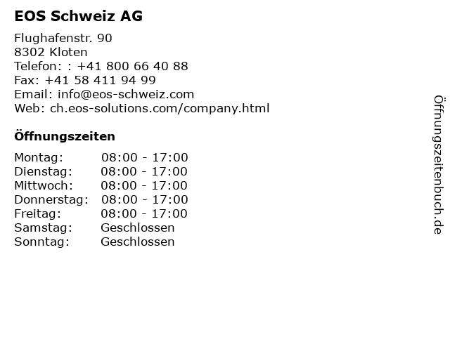 EOS Schweiz AG in Kloten: Adresse und Öffnungszeiten
