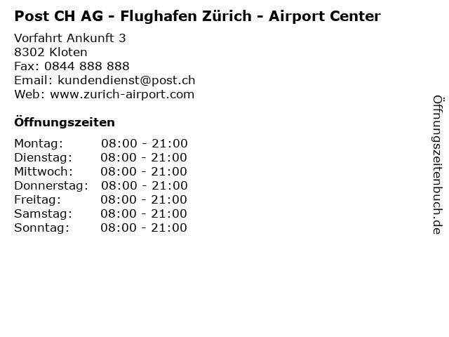 Post CH AG - Flughafen Zürich - Airport Center in Zürich-Flughafen: Adresse und Öffnungszeiten