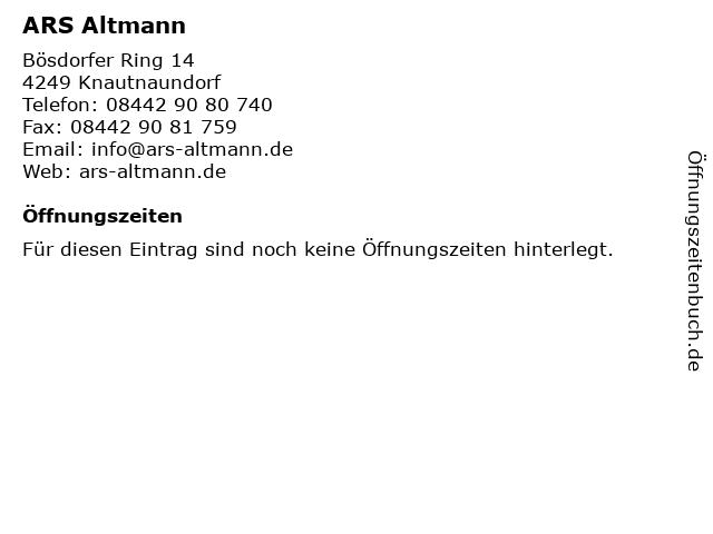 ARS Altmann in Knautnaundorf: Adresse und Öffnungszeiten