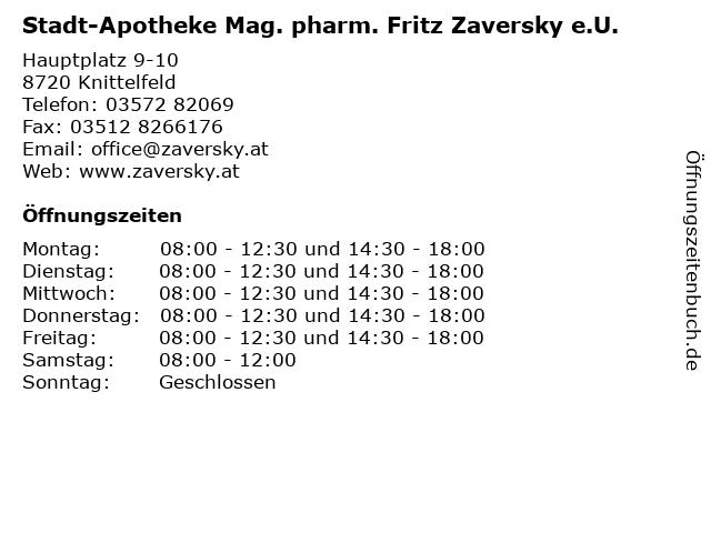 Stadt-Apotheke Mag. pharm. Fritz Zaversky e.U. in Knittelfeld: Adresse und Öffnungszeiten