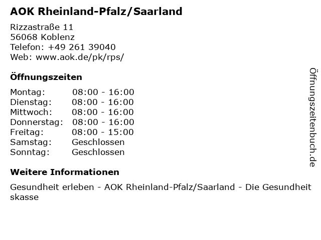 AOK Rheinland-Pfalz/Saarland in Koblenz: Adresse und Öffnungszeiten