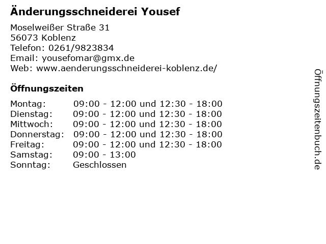 Änderungsschneiderei Yousef in Koblenz: Adresse und Öffnungszeiten