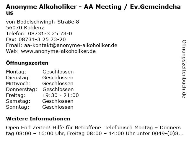 Anonyme Alkoholiker - AA Meeting / Ev.Gemeindehaus in Koblenz: Adresse und Öffnungszeiten
