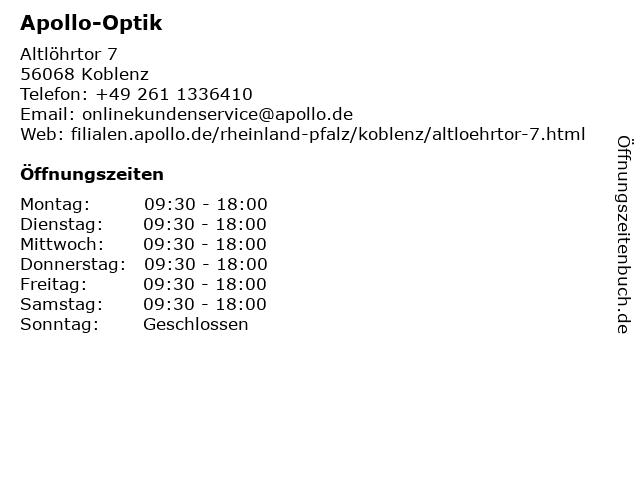 Apollo-Optik Holding GmbH&CoKG in Koblenz: Adresse und Öffnungszeiten