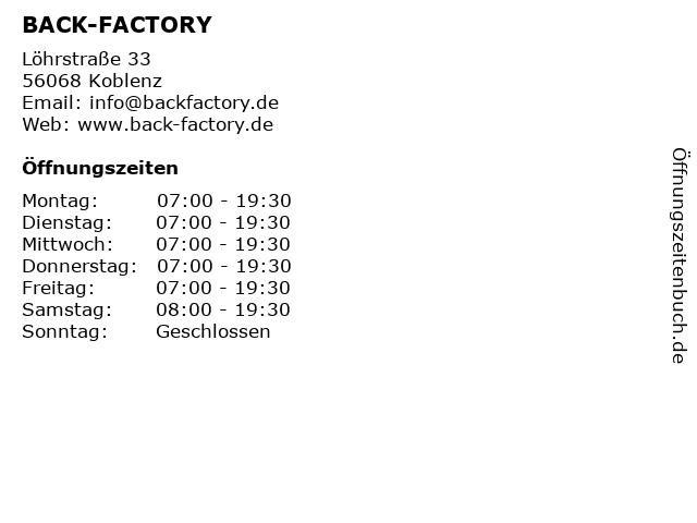 BACK-FACTORY in Koblenz: Adresse und Öffnungszeiten