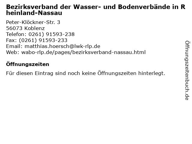 Bezirksverband der Wasser- und Bodenverbände in Rheinland-Nassau in Koblenz: Adresse und Öffnungszeiten