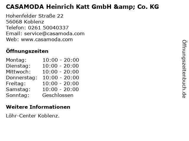 CASAMODA Heinrich Katt GmbH & Co. KG in Koblenz: Adresse und Öffnungszeiten