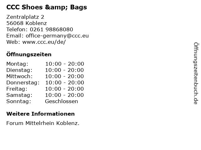 CCC Shoes & Bags in Koblenz: Adresse und Öffnungszeiten